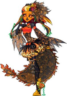 """mewsakuya: """" Let me introduce my first Monster High OC; Patch Samhein. Patch is a Jack o Lantern type monster and is the daughter of Jack the Pumpkin King. (You can make your own headcanon on what..."""