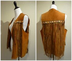vintage 70s Boho fringe Leather vest Suede Hippie rocker biker festival jacket large brown
