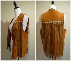 vintage 70s Boho fringe Leather vest Suede Hippie rocker biker festival jacket large brown