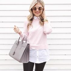 Superposer chemise et chandail : look stylé assuré  #lookdujour #ldj #pink #layering #layers #blouse #winter #color #outfitideas #outfitinspo #inspiration #style #regram  @krystin_lee