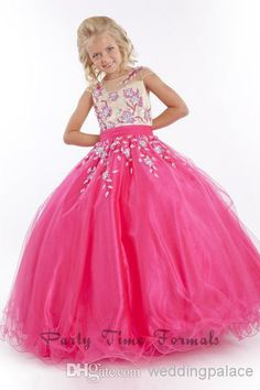 Wholesale Girl Pageant Dress - Buy Wonderful Cute Crew Sleeveless Floor Length Organza Ball Gown Appliques Girl Pageant Dresses Sequins Bead...