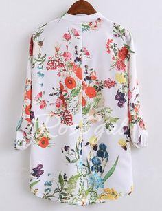Women's Stylish V-Neck Long Sleeve Print Colorful Blouse