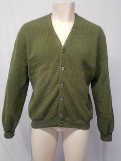 48ed05885528f Vtg Olive Moss Green Wool Blend Grandpa Cardigan Sweater Cobain Grunge L