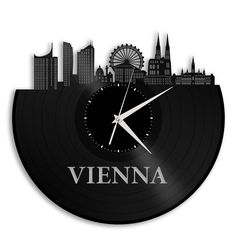 Personalized Corporate Gifts, Vienna Austria Skyline Clock, Austrian Gift, Personalized Clock, Company Gifts, Repurposed Vinyl Record Art by VinylShopUS on Etsy