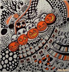 French Zendalas & Zentangles: défi express, proposé par Régine Bergot, la citrouille Halloween by Marilyn S