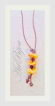 Long Necklaces – Leather Necklace, Ceramic Necklace, Orange, Yellow – a unique product by ArtBijou on DaWanda
