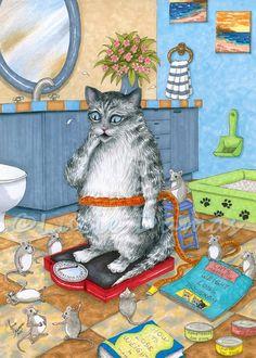 Art print 5x7 Cat 579 mouse mice funny bathroom by artbyLucie
