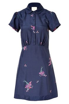 Girl.Band of Outsiders - Navy Blue Printed Silk Dress