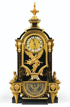 SOLD. 78,600 EUR - A GILT-BRONZE MOUNTED TORTOISESHELL AND BRASS MARQUETRY CLOCK FORMING BAROMETER IN LOUIS XIV STYLE, MID 19TH CENTURY, AFTER A MODEL BY ANDRÉ-CHARLES BOULLE