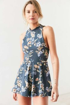 Kimchi Blue Rebecca Floral Knit Mock-Neck Romper - Urban Outfitters