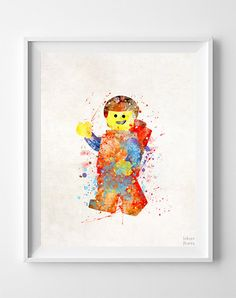 Lego Print Lego Watercolor Art Artwork At Home by InkistPrints