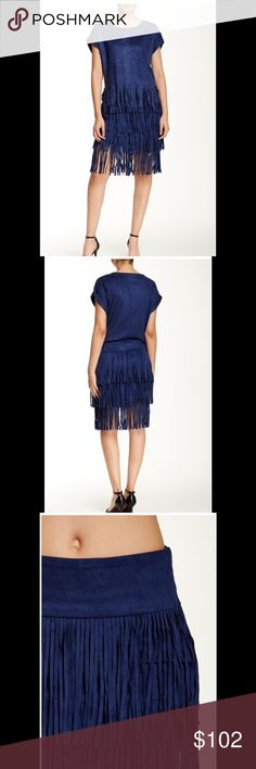 """🌟$85 8-HOUR SALE🌟 Romeo & Juliet Couture Skirt Romeo & Juliet Couture navy faux suede skirt fits true to size. Great to wear all seasons. Hidden side zip closure, fringe trim, about 23"""" length. Hand wash cold. 90% polyester, 10% spandex. Romeo & Juliet Couture Skirts"""