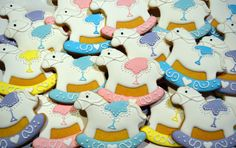Rocking horse cookies for a baby shower