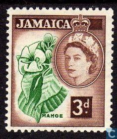 Stamps - Jamaica - Hibiscus elatus 1956