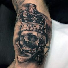Crown On Scary Skull Tattoo Forearms Men