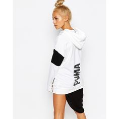 Puma Oversized Pullover Hoodie With Large Back Logo ($69) ❤ liked on Polyvore featuring tops, hoodies, white, hoodies pullover, puma hoodies, puma hoodie, white pullover und hoodie pullover