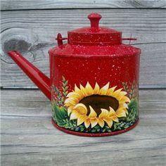 Hand+Painted+Metal+Coffee+Pots | VTG Yellow Enamel Coffee Pot TEA KETTLE HP Rooster Art HandPainted ...