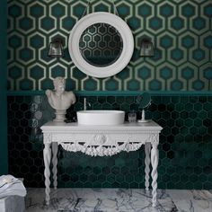 Bathroom with green geometric wallpaper and white washstand