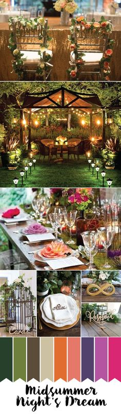 Woody & Whimsical Midsummer Night's Dream Inspired Wedding Colors for 2017 ..  www.ZCreateDesign.com