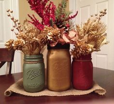 Christmas Mason Jar Vase Collection Sage by LucyLocketDesigns, $22.99