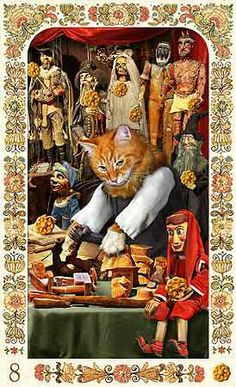 8 of Pentacles - Baroque Bohemian Cats' Tarot Funny Cats And Dogs, Cute Cats, Marionette, Animal Society, Cat Cards, Cat People, Vintage Cat, Cat Life, Pet Portraits