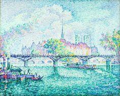 Paul Signac, Le Pont des Arts, Paris, île de la cité, 1912, 81x100,1cm #art #impressionist #paulsignac #paris #pontdesarts