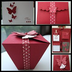 Love the butterflies, red on white.  #embosslit.