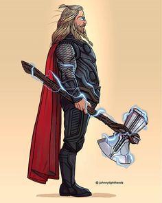 Thicc Thor – by Johnny Lighthands - Top-Trends Marvel Dc Comics, Marvel Avengers, Marvel Fan Art, Marvel Memes, Captain Marvel, Star Lord, Die Rächer, Mundo Marvel, Marvel Drawings
