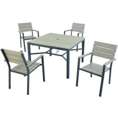 The Hampton Bay Northridge Dining Patio Set Includes Mounting Hardware For  Easy Assembly. It Comes With Four Stackable Chairs For Easy Storage.