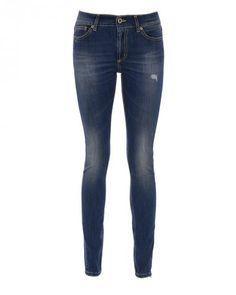 Dondup TARA Skinny Jeans Used-Look  in Blau
