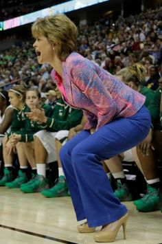 Baylor head coach Kim Mulkey yells at her team during the semifinal game against Stanford on Sunday, April 1, 2012 in Denver. The Lady Bears advanced to the Championship game against Notre Dame on Tuesday, April 3, 2012.