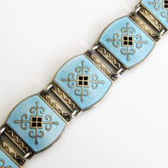 This fabulous bracelet is an early piece by Ottar Hval of Norway. Made of sterling silver with a gold vermeil wash, it is finished with vitreous glass Enamel Jewelry, Antique Jewelry, Silver Jewelry, Vintage Jewelry, Vintage Clothing, Vintage Art, Jewelry Design Earrings, Jewelry Bracelets, Art Nouveau Jewelry