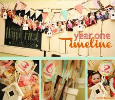 I need to remember this in 25 years! :)Cute for a 1st Birthday!! Photo timeline of your babies first year of life and make it as a garland to hang at their birthday! Need to remember for the next bundle of joy! cute month pics table center piece idea