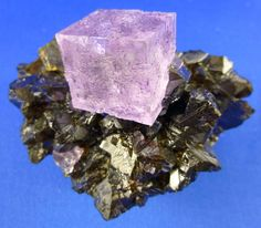 Fluorite: on Sphalerite; Carthage, Tennessee
