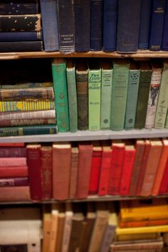 A rainbow of vintage books | On Solid Ground Vintage Rentals | Inspired by Heather