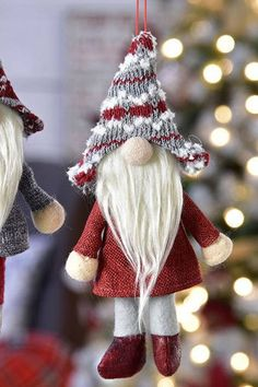 These sweet gnomes will make an awesome addition to your Christmas Tree! This will make a unique gift as well. This listing is for one pair (2) gnomes Faux fur beard with winter coat and hat. 2 Designs: Gray Coat with Red Hat & Red Coat with Gray Hat SIZE 4.5x2x8.5(inches tall) A
