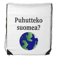 Shop Do you speak Finnish? in Finnish. With globe Drawstring Bag created by Parleremo. Finnish Language, Cinch Bag, Drawstring Backpack, Globe, Goodies, Backpacks, Bags, Sweet Like Candy, Handbags