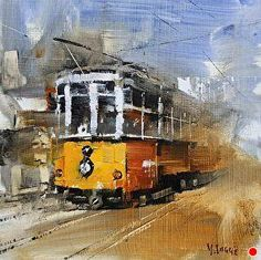 Orange Street Car by Mark Lague Oil ~ 8 x 8