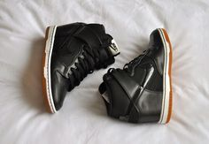 Black leather Nike Dunk Sky Highs