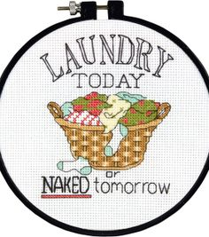 "Learn-A-Craft Laundry Today Counted Cross Stitch Kit-6"" Round 14 Count at Joann.com"