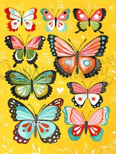 Yellow Butterflies Canvas Wall Art (Katie Daisy for Oopsy Daisy)