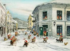 kjell e. julekort - Gnomes have taken over the town! Every window, door way and street is filled with cheerful smiles and greetings! Norwegian Christmas, Scandi Christmas, Christmas Elf, Forest Creatures, Magical Creatures, Fantasy Creatures, Yule, Baumgarten, Nordic Art