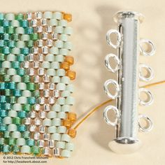 Learn How to Attach a Slide Clasp to a Peyote Bracelet Attach a Slide Clasp to a Peyote Stitch Cuff Bracelet: Position the Thread for the First End Loop Seed Bead Patterns, Jewelry Patterns, Bracelet Patterns, Beading Patterns, Bead Loom Bracelets, Peyote Bracelet, Peyote Beading, Beadwork, Beading Techniques