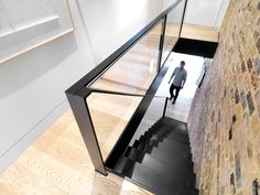 Threefold Architects have combined a Victorian workshop and an old shop unit in east London to create a home and gallery for an art curator Staircase Handrail, Stair Railing, Staircases, Stairs Window, House Stairs, Railing Design, Staircase Design, Open Trap, Modern Railing