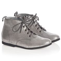Girls Metallic Silver Leather Ankle Boots | Childrensalon