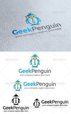 Geek Penguin Logo - Animals Logo Templates