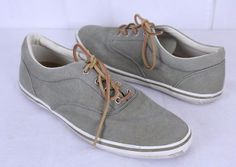 Cole Haan Size 13M Canvas Boat Shoes Lace Up Green w Leather Laces #ColeHaan #BoatShoes