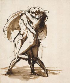 Swedish sculptor/painter J T Sergel, The wild lovers, ink sketch, late Sigil Magic, Most Famous Artists, Drawing Studies, Illustrations, Tobias, Artist Art, Figure Drawing, Art History, Sketches