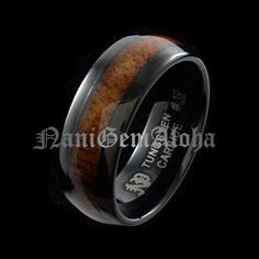 $72 Koa Wood Curly Black Tungsten Hawaiian Band Ring Comfort Fit Dome Edge 8mm Ring in Rings | eBay