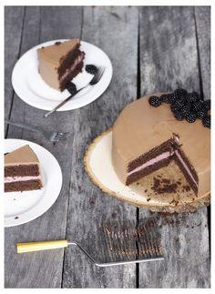 chocolate cake with blackberry jam buttercream